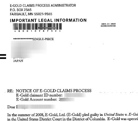 egold claim